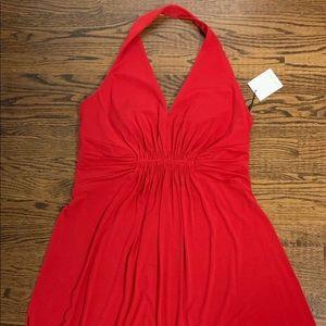 Calvin Klein red halter dress.